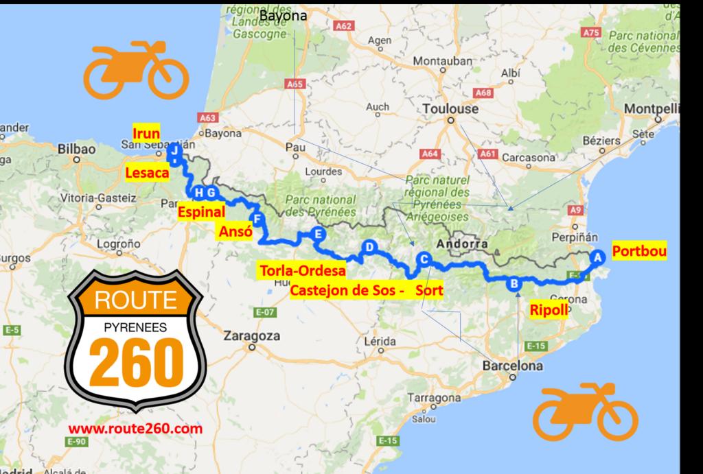 mapa ruta 260 logo i moto i com arribar
