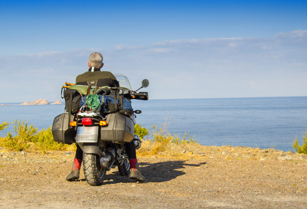Motorbike mediterranean atalantic sea transpirinaic